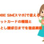 BIGLOBE SIMのクレジットカード払いの種類と実際の引き落とし日までを網羅!